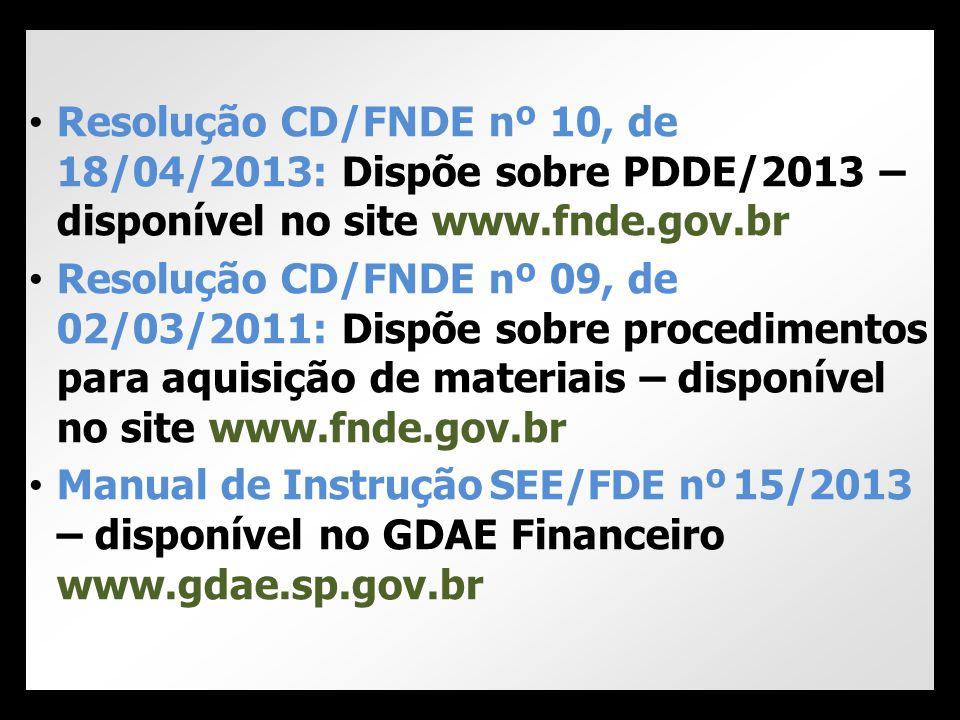 Resolução CD/FNDE nº 10, de 18/04/2013: Dispõe sobre PDDE/2013 – disponível no site www.fnde.gov.br