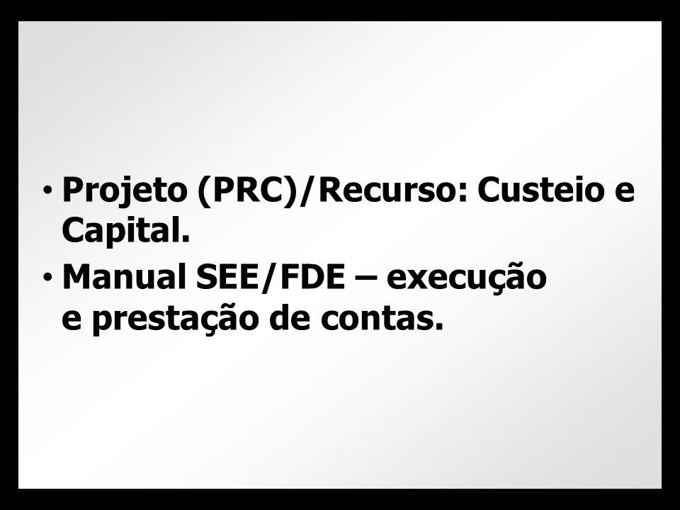 Projeto (PRC)/Recurso: Custeio e Capital.