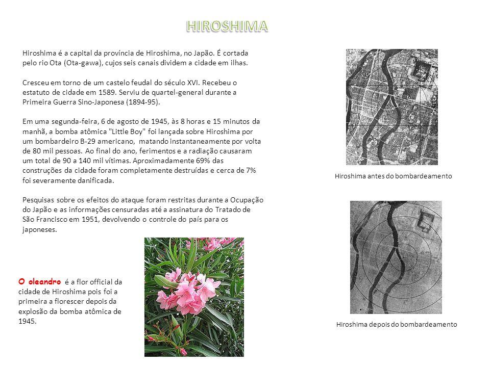 HIROSHIMA Hiroshima é a capital da província de Hiroshima, no Japão. É cortada pelo rio Ota (Ota-gawa), cujos seis canais dividem a cidade em ilhas.