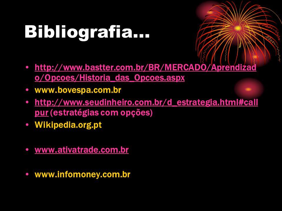 Bibliografia... http://www.bastter.com.br/BR/MERCADO/Aprendizado/Opcoes/Historia_das_Opcoes.aspx. www.bovespa.com.br.