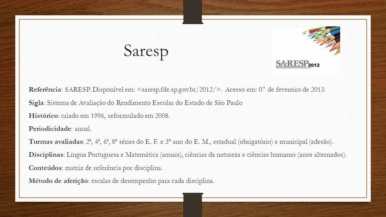 Saresp Referência: SARESP. Disponível em: <saresp.fde.sp.gov.br/2012/>. Acesso em: 07 de fevereiro de 2013.
