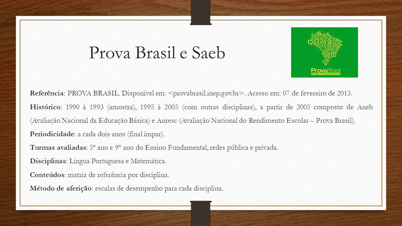 Prova Brasil e Saeb Referência: PROVA BRASIL. Disponível em: <provabrasil.inep.gov.br>. Acesso em: 07 de fevereiro de 2013.