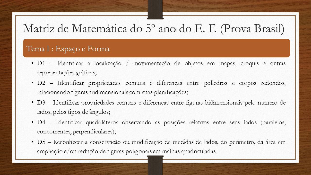Matriz de Matemática do 5º ano do E. F. (Prova Brasil)