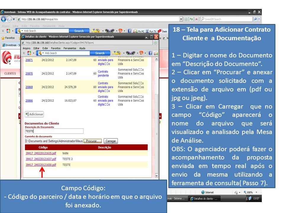 18 – Tela para Adicionar Contrato Cliente e a Documentação