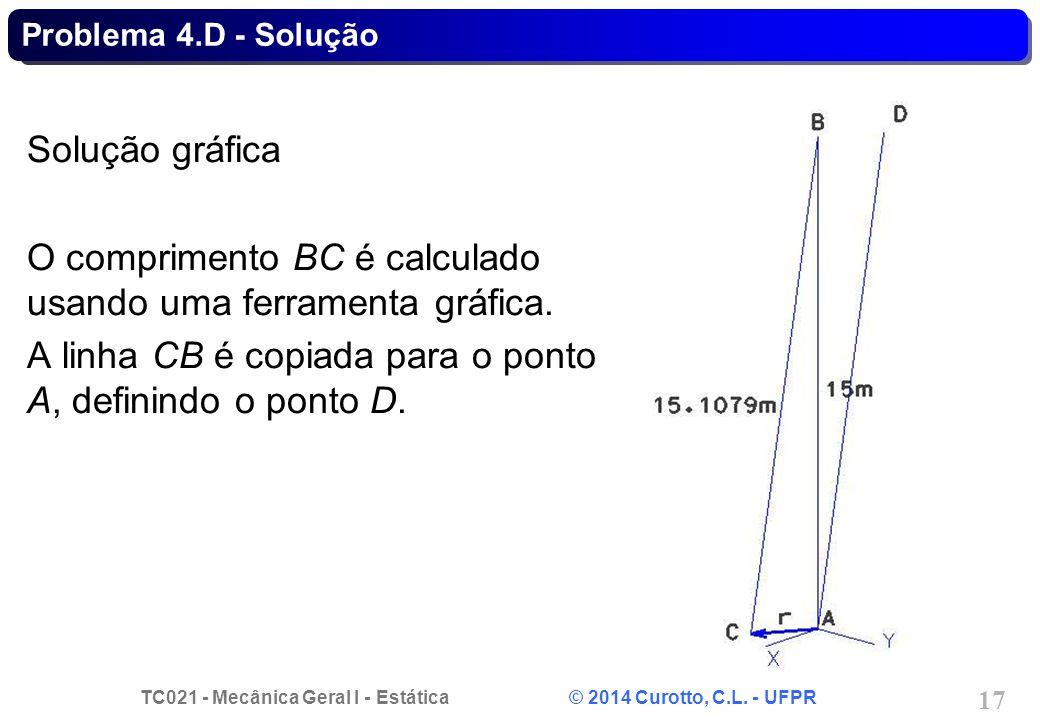 O comprimento BC é calculado usando uma ferramenta gráfica.