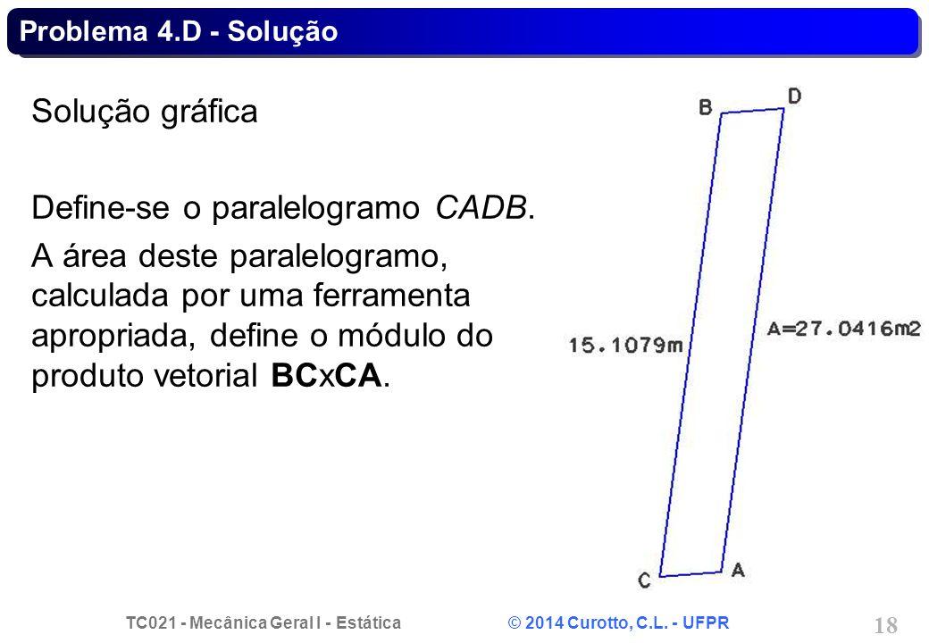Define-se o paralelogramo CADB.