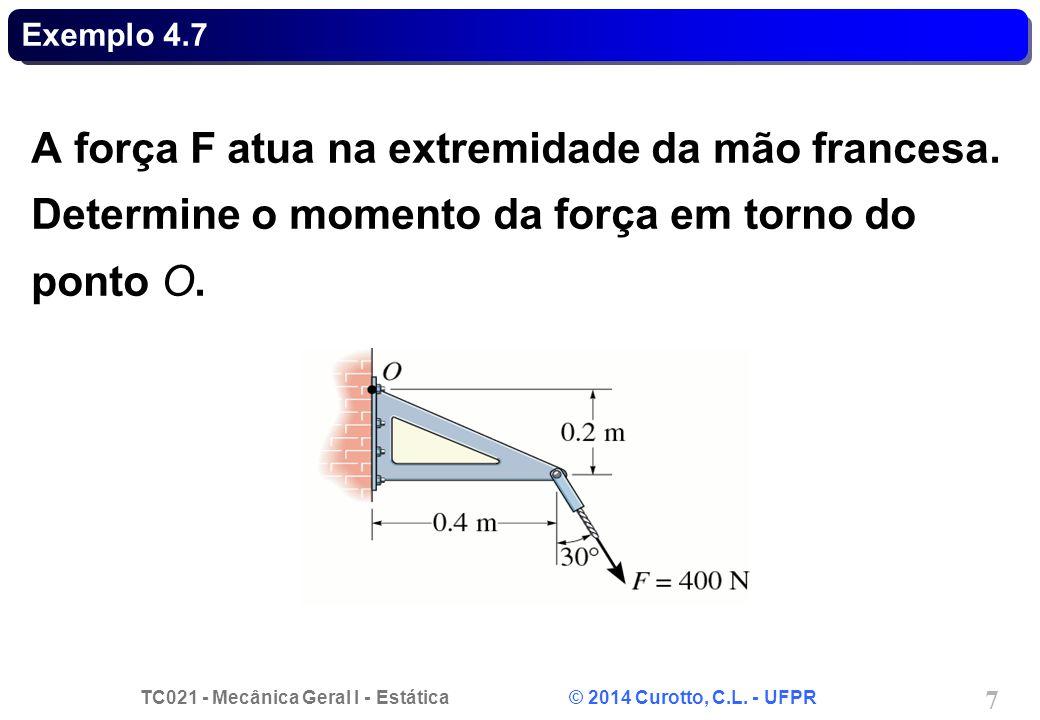 Exemplo 4.7 A força F atua na extremidade da mão francesa.