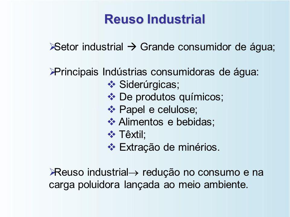 Reuso Industrial Setor industrial  Grande consumidor de água;