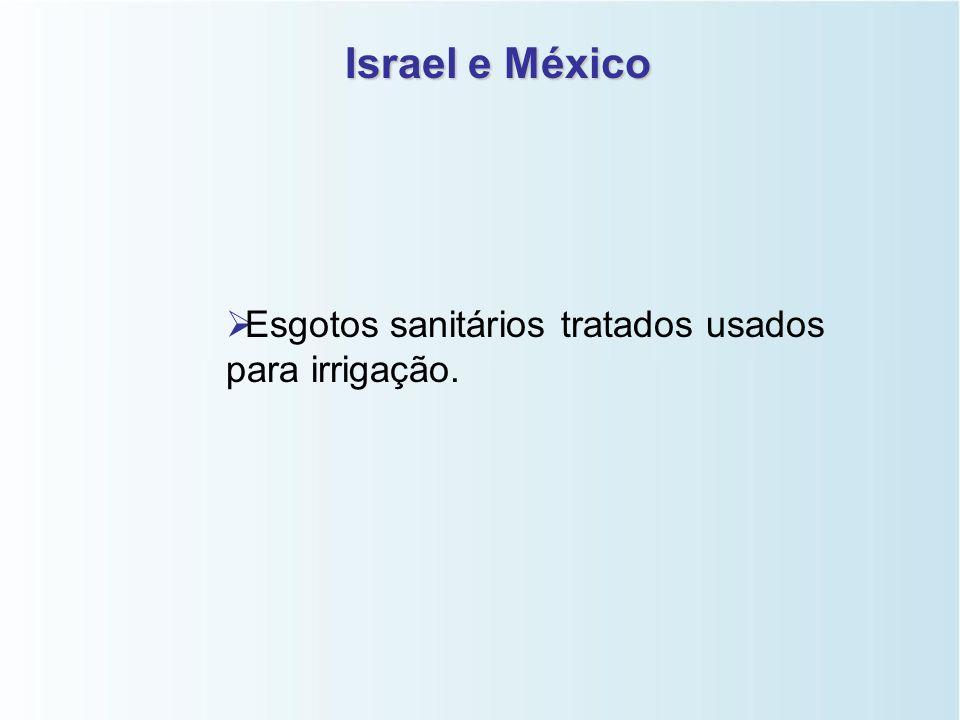 Israel e México Esgotos sanitários tratados usados para irrigação.