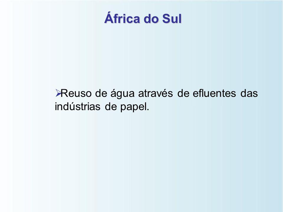 África do Sul Reuso de água através de efluentes das indústrias de papel.