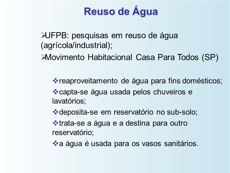 Reuso de Água UFPB: pesquisas em reuso de água (agrícola/industrial);