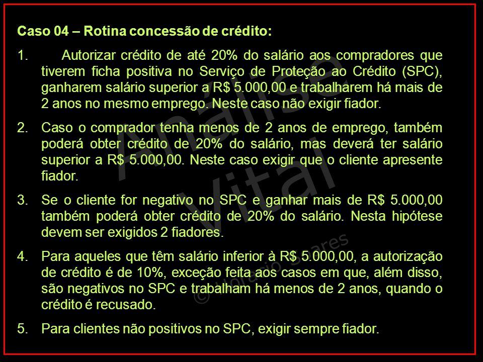 Caso 04 – Rotina concessão de crédito: