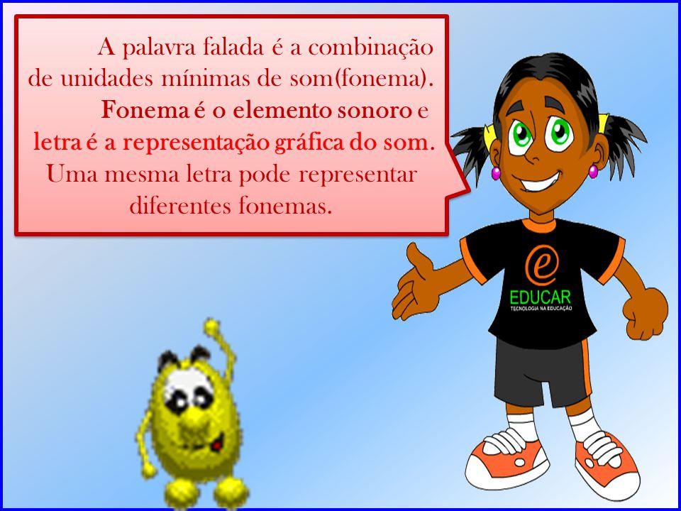 A palavra falada é a combinação de unidades mínimas de som(fonema).