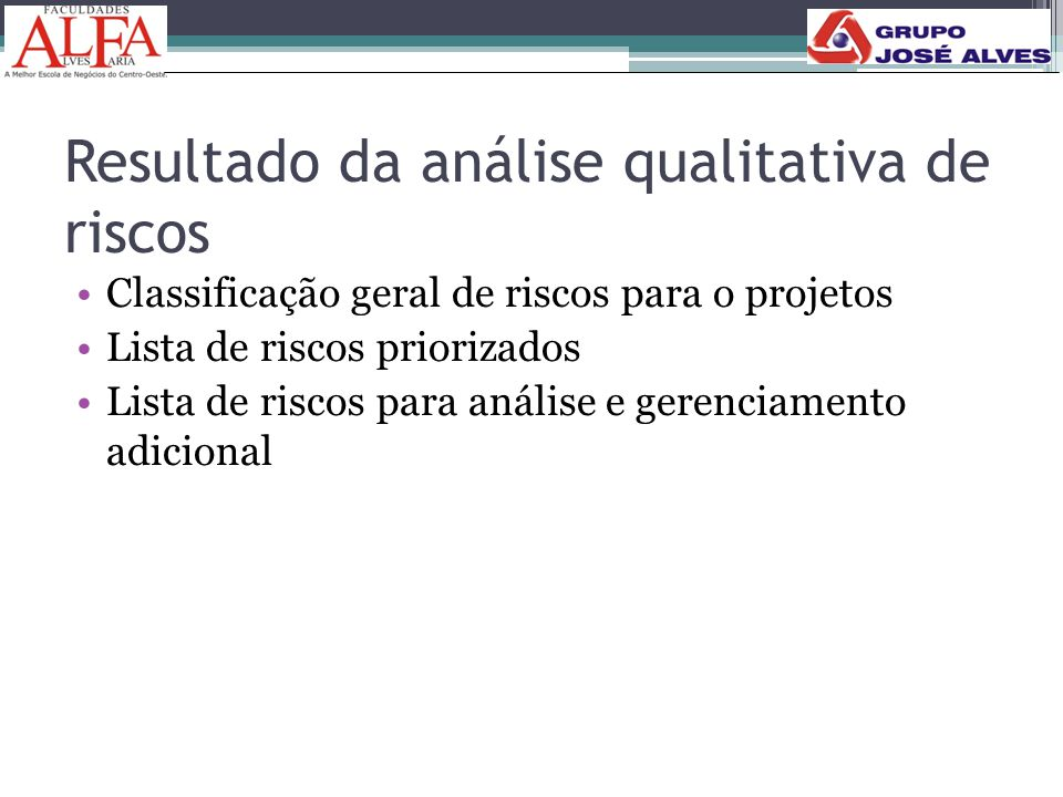 Resultado da análise qualitativa de riscos