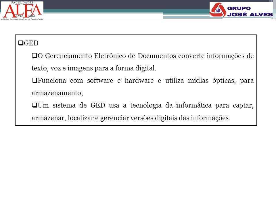 GED O Gerenciamento Eletrônico de Documentos converte informações de texto, voz e imagens para a forma digital.