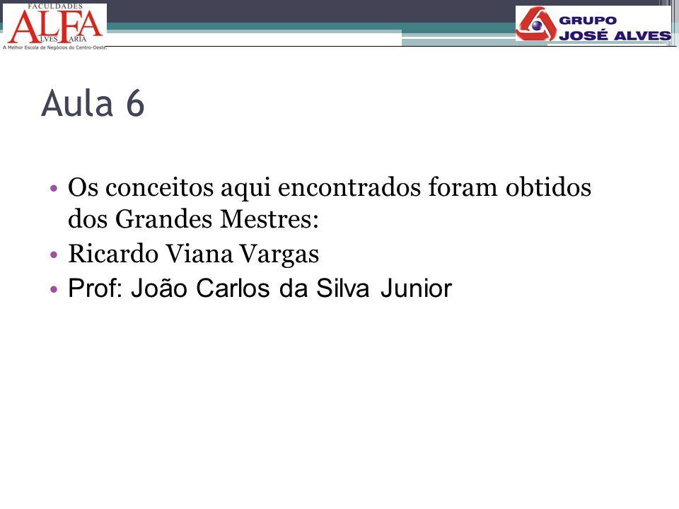 Aula 6 Os conceitos aqui encontrados foram obtidos dos Grandes Mestres: Ricardo Viana Vargas.