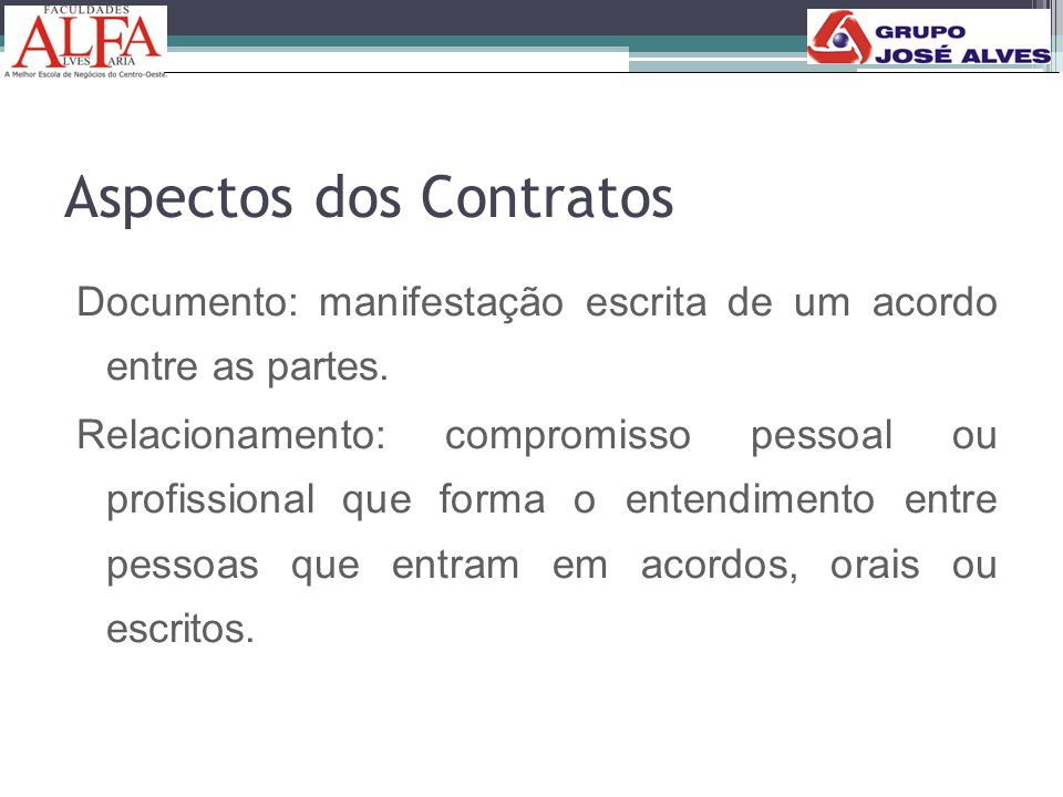 Aspectos dos Contratos