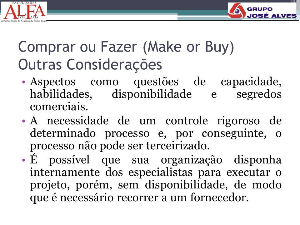 Comprar ou Fazer (Make or Buy) Outras Considerações