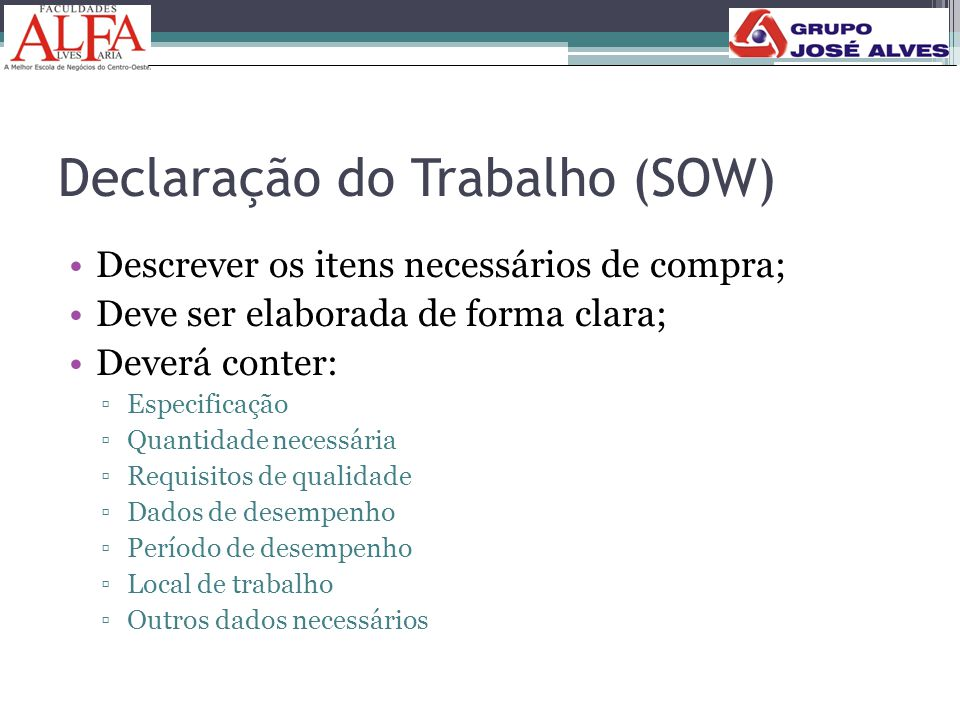Declaração do Trabalho (SOW)