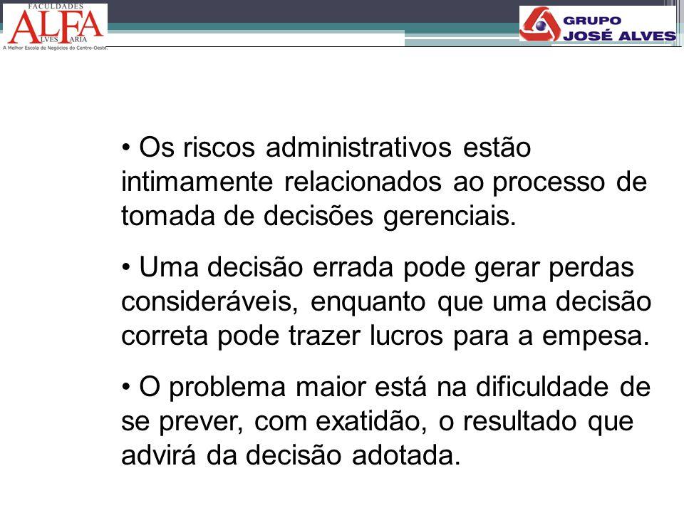 Os riscos administrativos estão intimamente relacionados ao processo de tomada de decisões gerenciais.