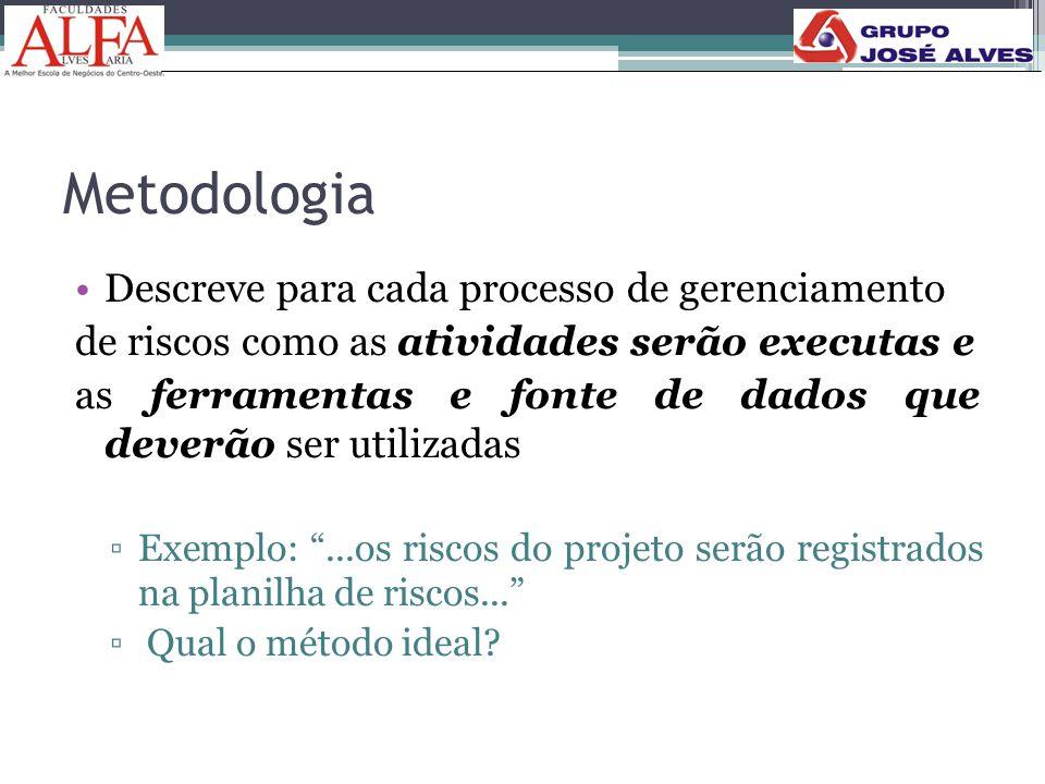 Metodologia Descreve para cada processo de gerenciamento