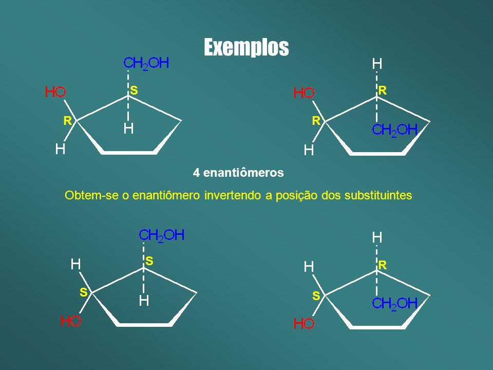Obtem-se o enantiômero invertendo a posição dos substituintes