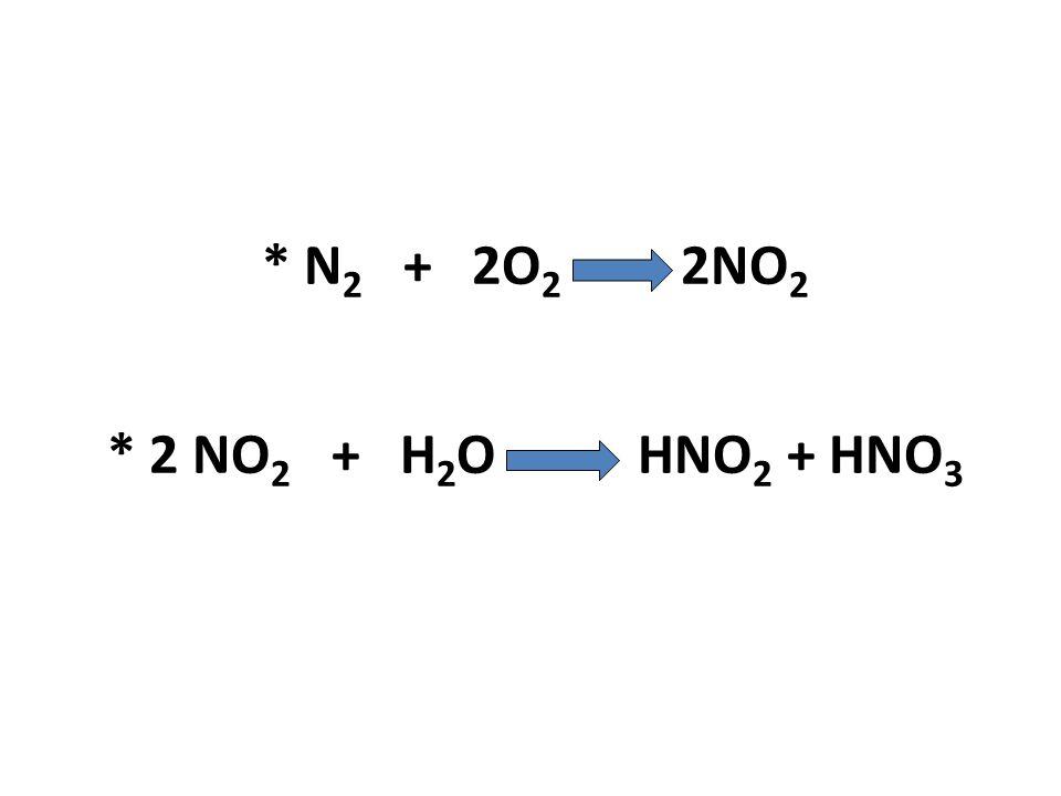 * N2 + 2O2 2NO2 * 2 NO2 + H2O HNO2 + HNO3