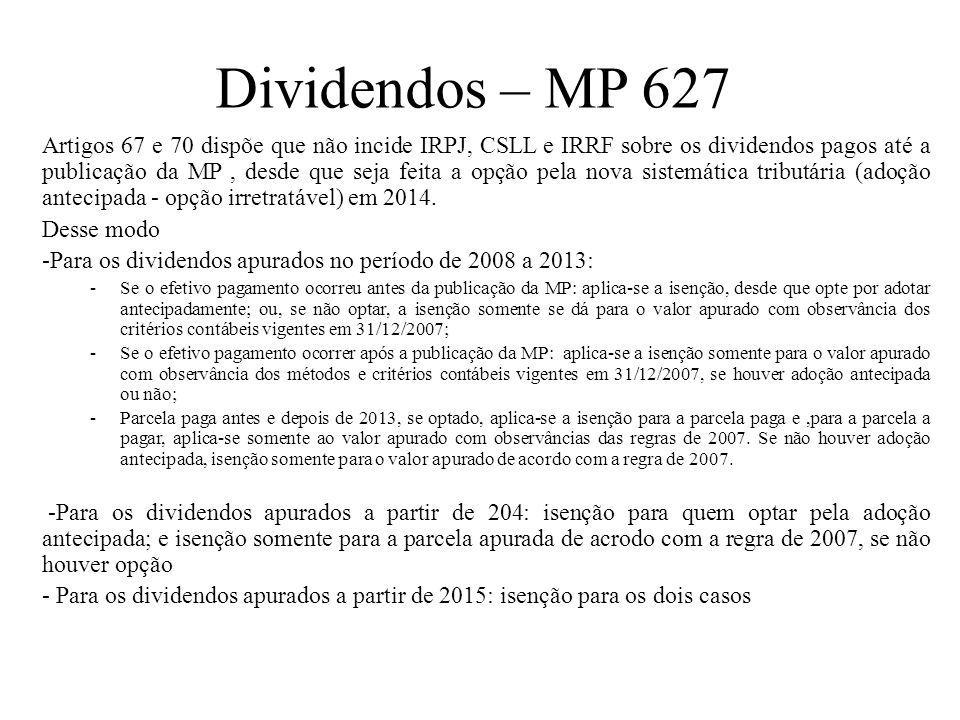 Dividendos – MP 627