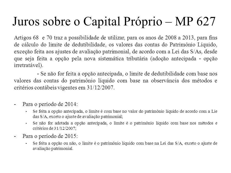 Juros sobre o Capital Próprio – MP 627