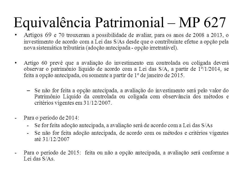 Equivalência Patrimonial – MP 627