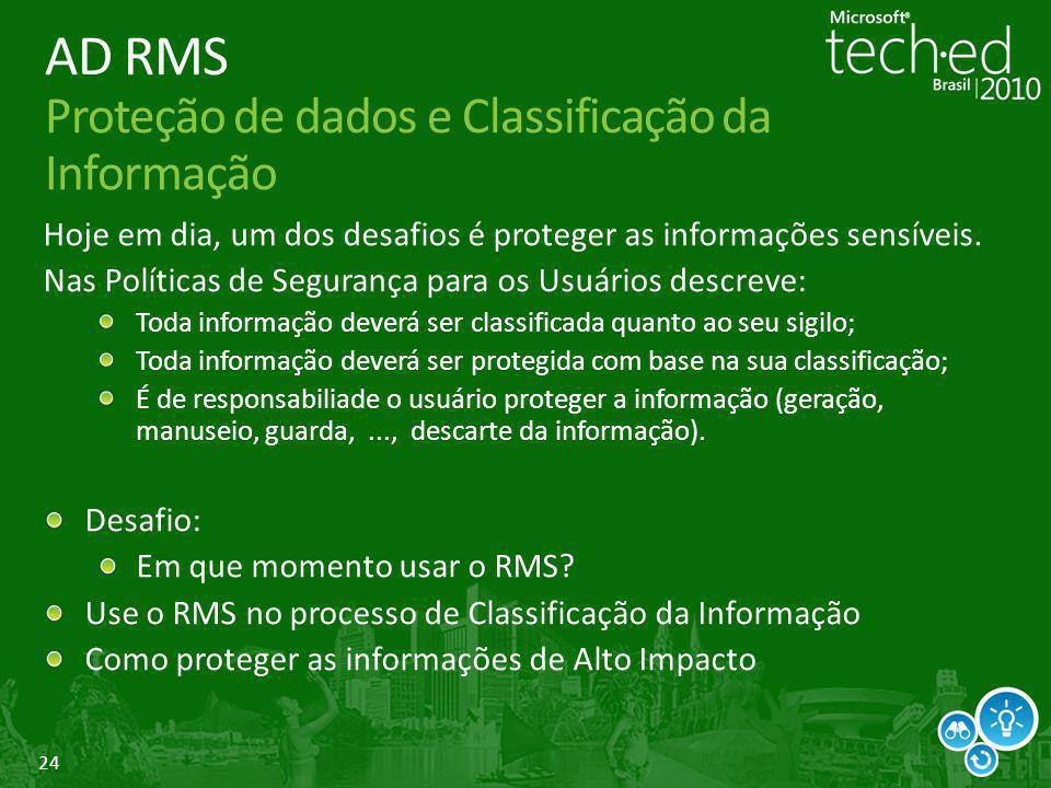 AD RMS Proteção de dados e Classificação da Informação