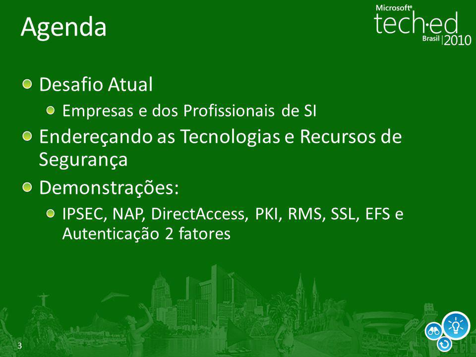 14/07/2010 4:47 PM Agenda. Desafio Atual. Empresas e dos Profissionais de SI. Endereçando as Tecnologias e Recursos de Segurança.