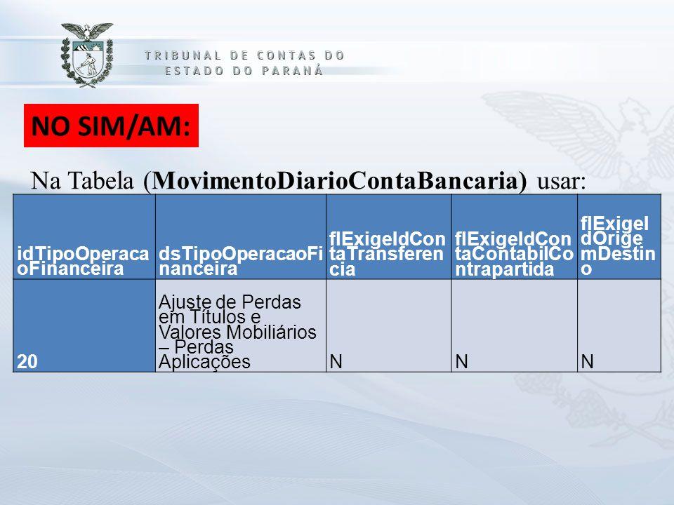 NO SIM/AM: Na Tabela (MovimentoDiarioContaBancaria) usar: