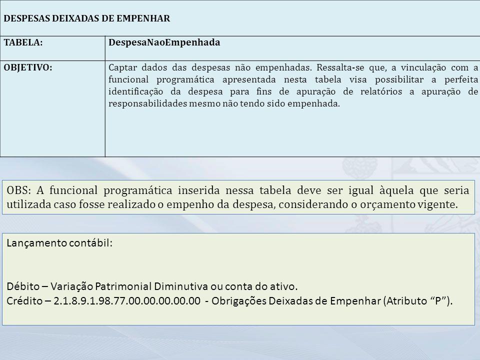 Débito – Variação Patrimonial Diminutiva ou conta do ativo.
