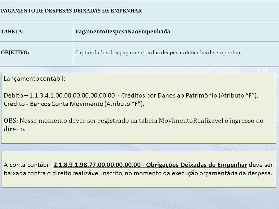 Crédito - Bancos Conta Movimento (Atributo F ).
