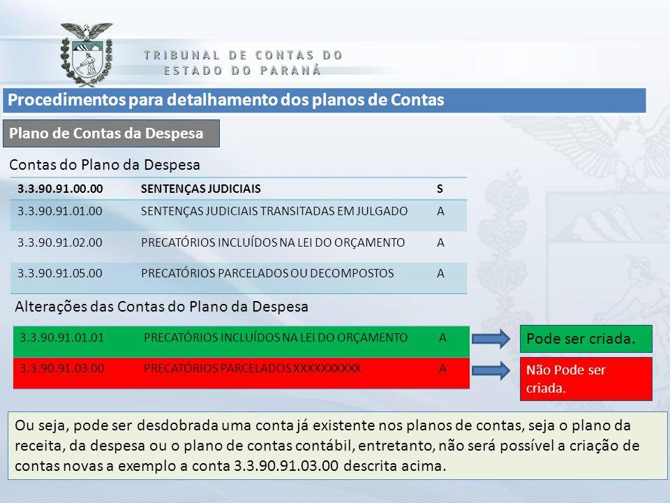 Procedimentos para detalhamento dos planos de Contas