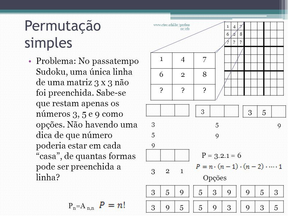 Permutação simples www.ctec.ufal.br/professor/cfs. 1. 4. 7. 6. 2. 8.