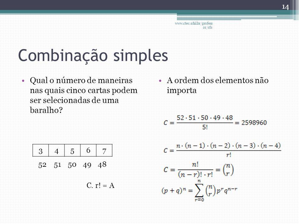 www.ctec.ufal.br/professor/cfs Combinação simples. Qual o número de maneiras nas quais cinco cartas podem ser selecionadas de uma baralho