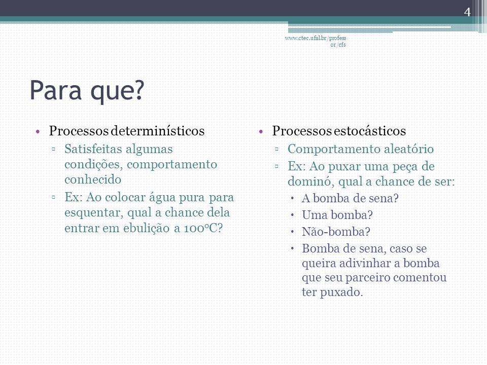 Para que Processos determinísticos Processos estocásticos