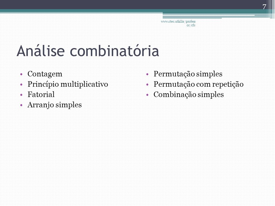 Análise combinatória Contagem Princípio multiplicativo Fatorial