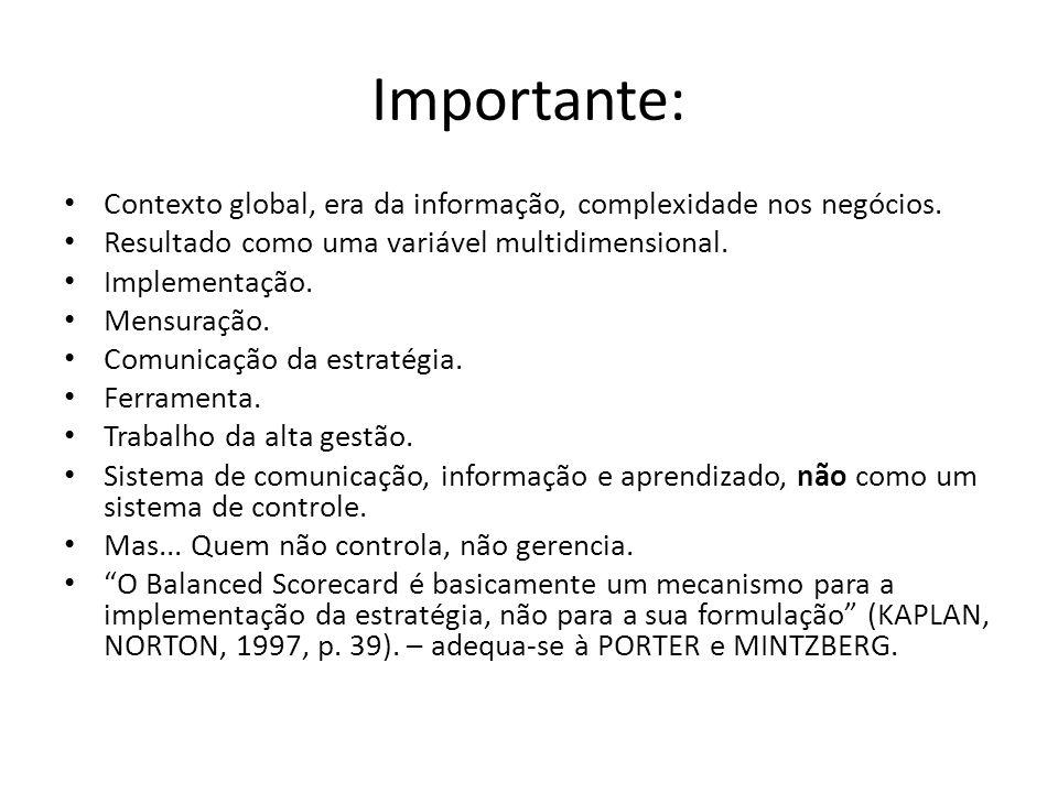 Importante: Contexto global, era da informação, complexidade nos negócios. Resultado como uma variável multidimensional.