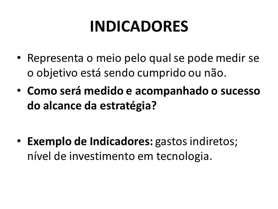 INDICADORES Representa o meio pelo qual se pode medir se o objetivo está sendo cumprido ou não.