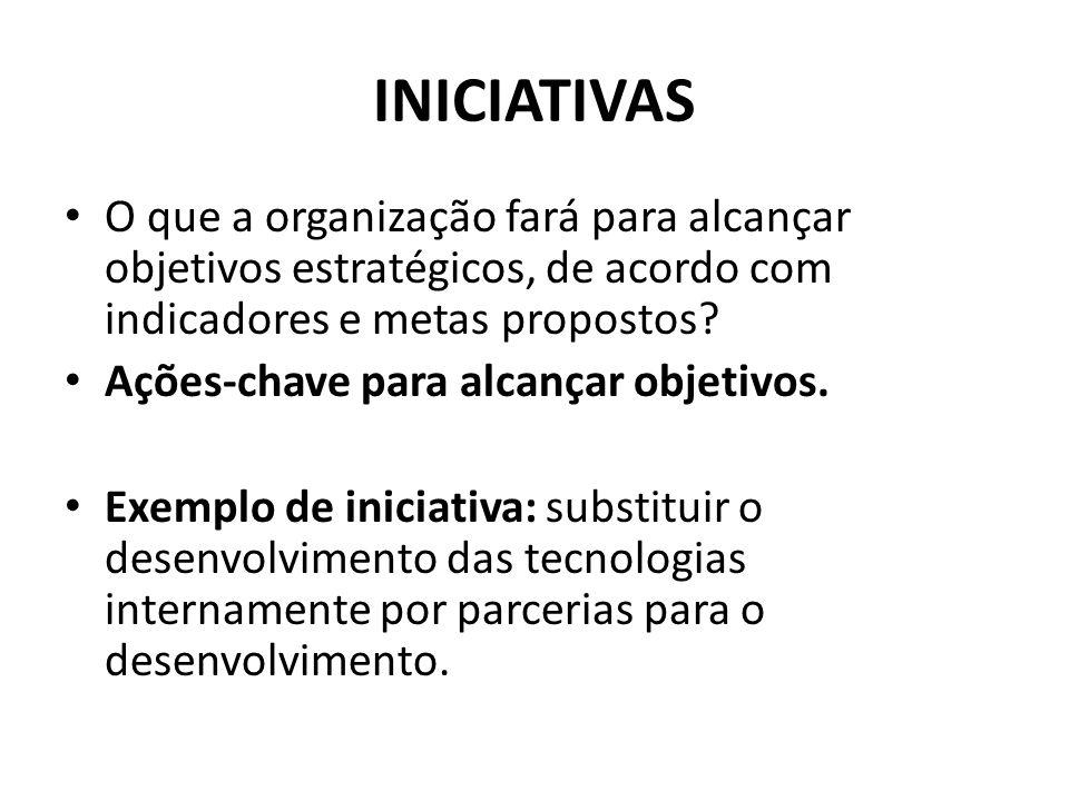 INICIATIVAS O que a organização fará para alcançar objetivos estratégicos, de acordo com indicadores e metas propostos