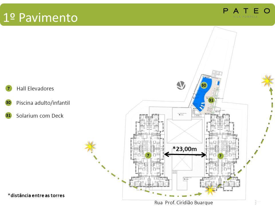1º Pavimento *23,00m Hall Elevadores Piscina adulto/infantil