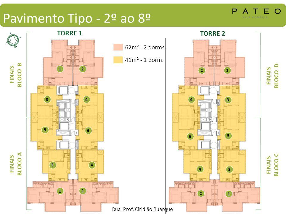 Pavimento Tipo - 2º ao 8º TORRE 1 TORRE 2 62m² - 2 dorms.