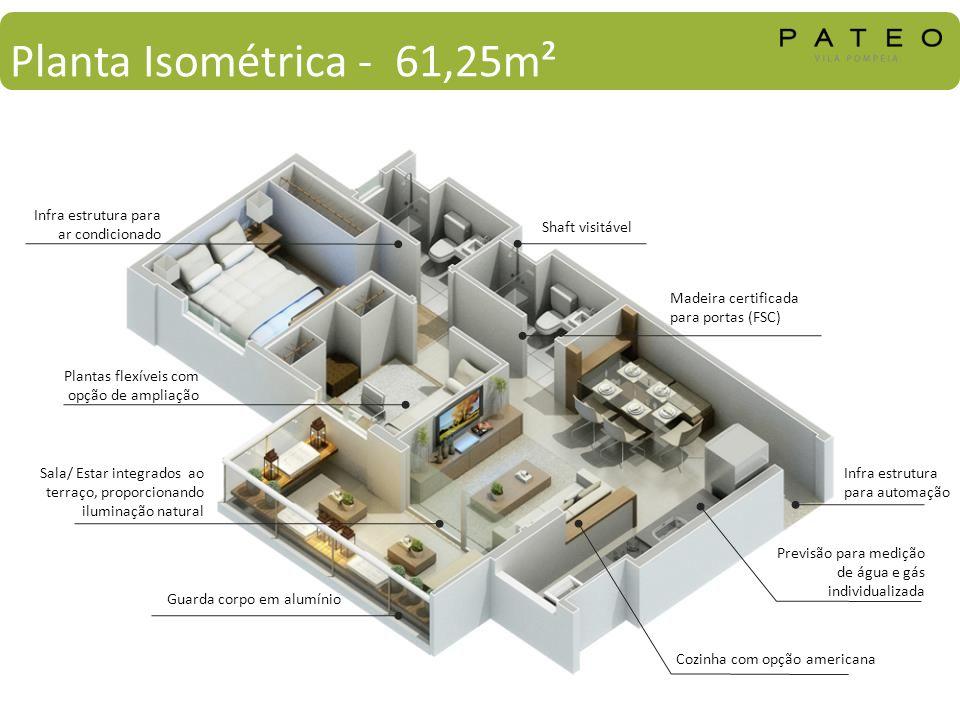 Planta Isométrica - 61,25m² Infra estrutura para ar condicionado