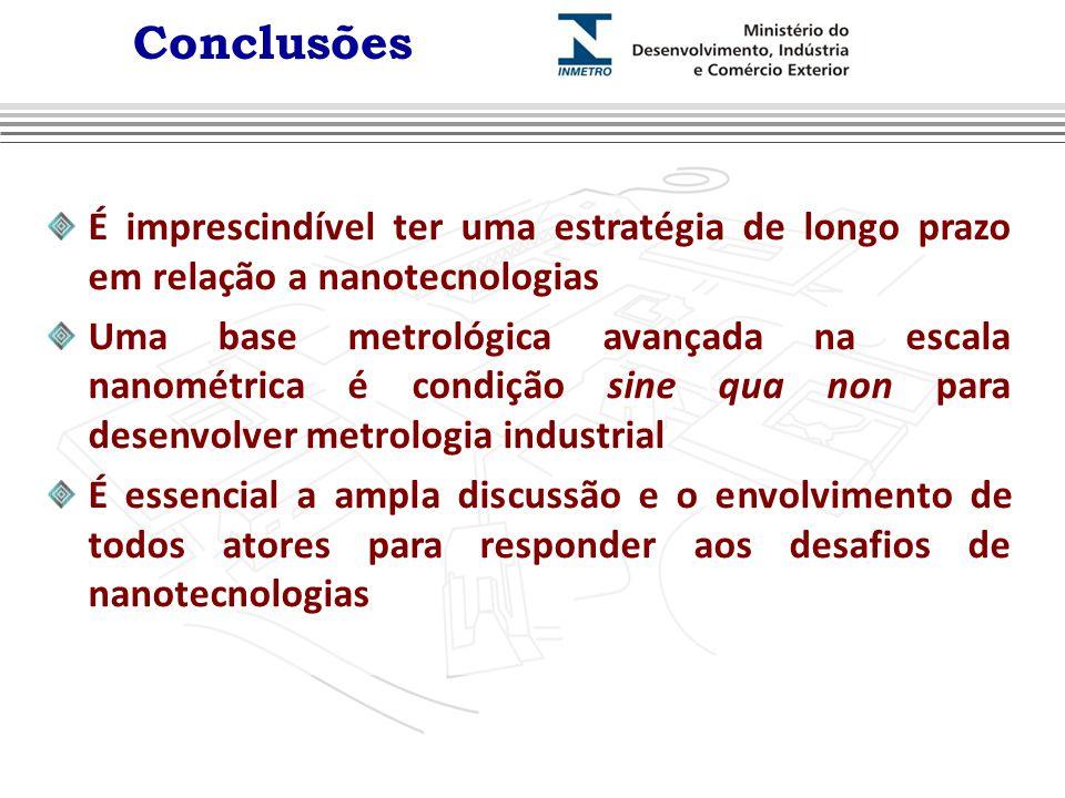 Conclusões É imprescindível ter uma estratégia de longo prazo em relação a nanotecnologias.