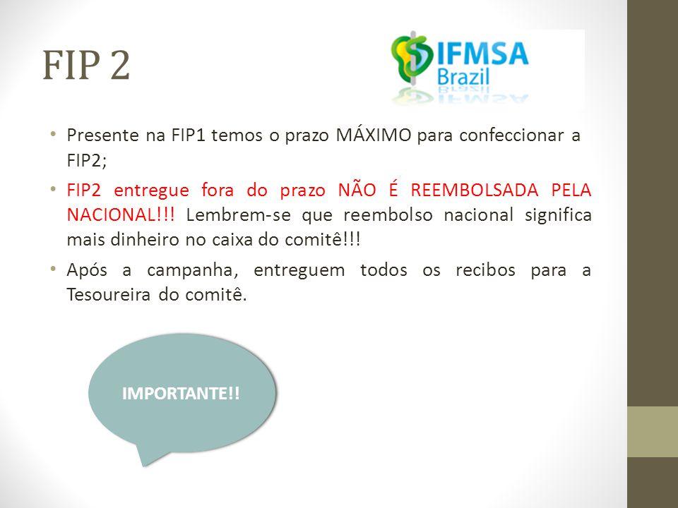 FIP 2 Presente na FIP1 temos o prazo MÁXIMO para confeccionar a FIP2;