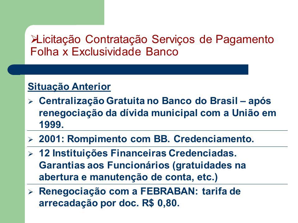 Licitação Contratação Serviços de Pagamento Folha x Exclusividade Banco