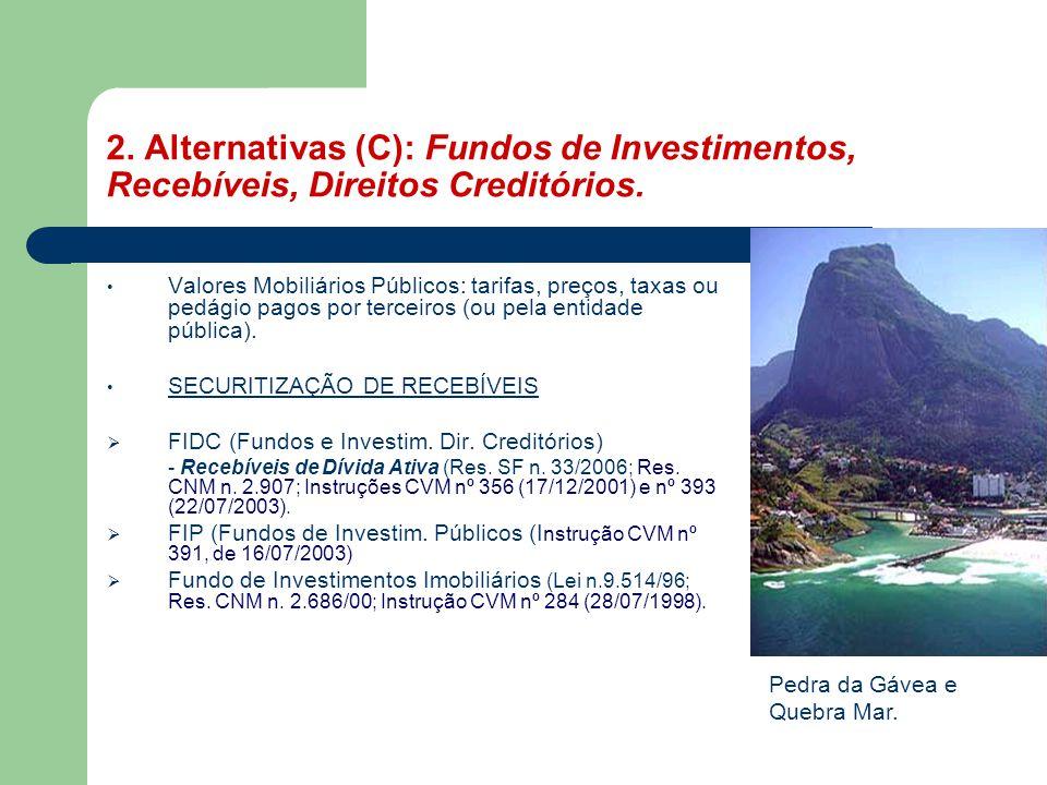 2. Alternativas (C): Fundos de Investimentos, Recebíveis, Direitos Creditórios.